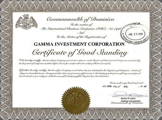 Регистрация компании Gamma IC в Доминикане