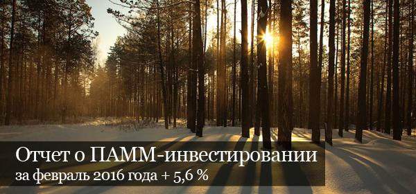 Отчет о ПАММ-инвестировании за февраль 2016 г. +5,6 %